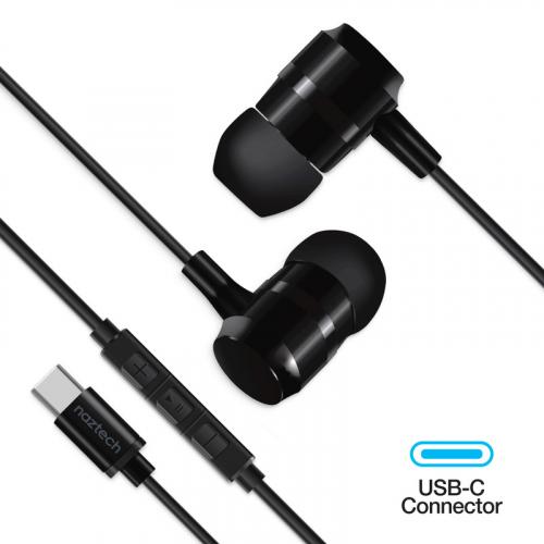 Naztech - Ecouteurs USB-C noirs