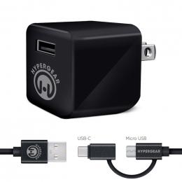 HyperGear Chargeur Rapide + Cable 4 pieds Hybride USB-C Noir
